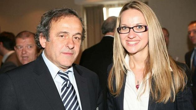 Markéta Haindlová a šéf UEFA Michel Platini