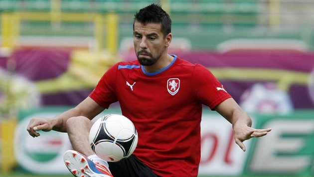 Milan Baroš na tréninku fotbalové reprezentace v polské Vratislavi