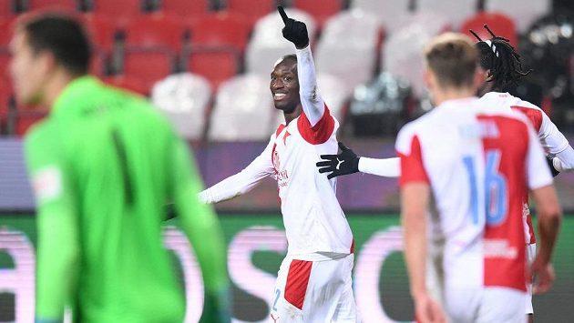 Abdallah Sima oslavuje gól vstřelený Liberci.