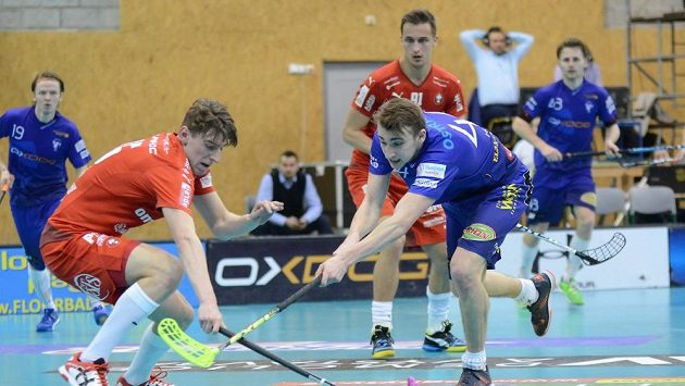 Lukáš Hájek (v popředí v modrém) dal v šestém zápase Střešovicím čtyři góly a na dva přihrál.