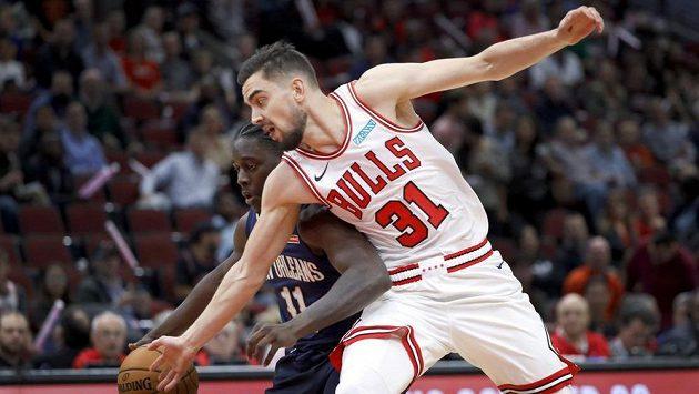 Basketbalista New Orleans Pelicans Jrue Holiday (11) a Tomáš Satoranský z Chicaga Bulls během přípravy na NBA.