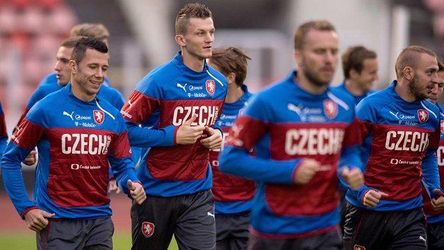 Zleva Marek Suchý, Tomáš Necid, Michal Kadlec a Jiří Skalák.