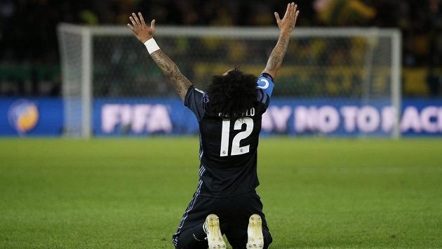 Fotbalista Realu Madrid Marcelo slaví gól proti mexické Américe v semifinále MS klubů.