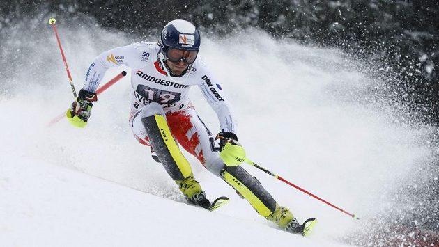 Český lyžař Kryštof Krýzl během kombinačního slalomu ve Wengenu.