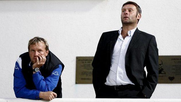 Trenér Slovácka Svatopluk Habanec (vpravo) byl s remízou v Plzni nadmíru spokojen.