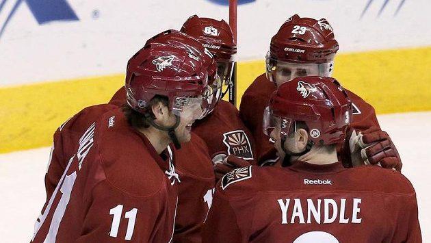 Hokejisté Phoenixu Coyotes se radují ze vstřelení gólu.