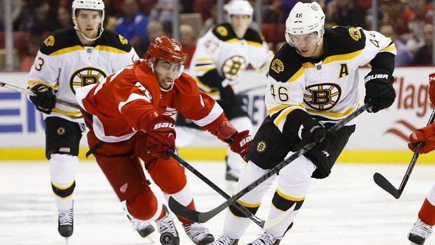 Bostonský útočník David Krejčí (46) v souboji s Tomášem Jurčem (26) z Detroitu.