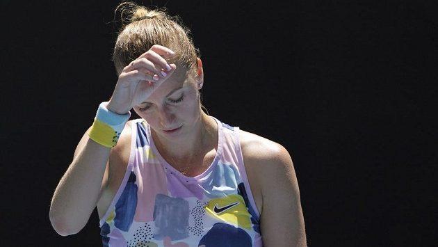 Petra Kvitová během čtvrtfinále s Australankou Ashleigh Bartyovou.