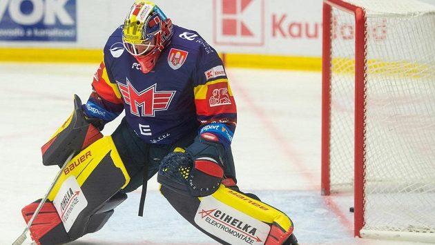 Brankář Českých Budějovic Marek Čiliak poté, co dostal třetí gól.