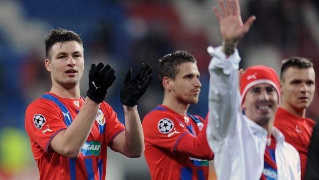 Střelec vítězného gólu Tomáš Wágner (vlevo) po utkání Ligy mistrů s CSKA Moskva.