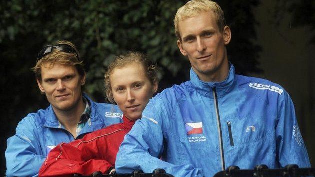 Na olympijských hrách budou hájit české barvy i (zleva) Přemysl Švarc, Vendula Frintová a Jan Čelůstka