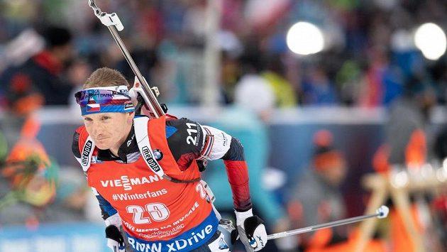 Český biatlonista Ondřej Moravec během stíhacího závodu v rámci Světového poháru v Novém Městě na Moravě.