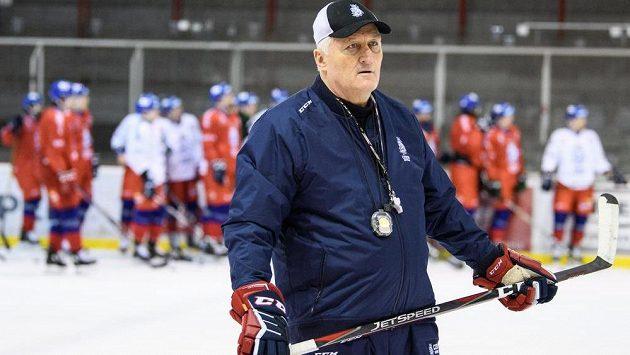 Trenér Miloš Říha během tréninku hokejové reprezentace před turnajem Beijer Hockey Games.