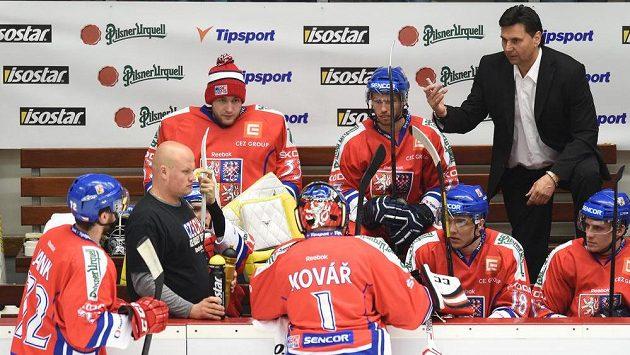 Trenér české hokejové reprezentace Vladimír Růžička .