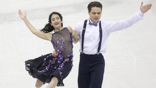 Taneční pár Cortney Mansourová, Michal Češka na mistrovství Evropy v Bratislavě.