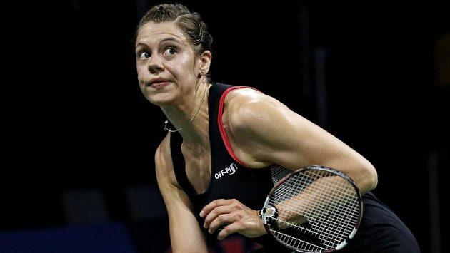 Badmintonistka Kristína Gavnholtová na MS v Kodani v utkání proti Li Süe-žuej z Číny.