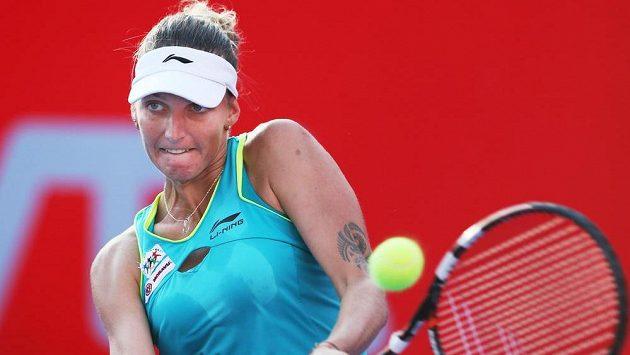 Karolína Plíšková v semifinále předešlého turnaje v Hongkongu.