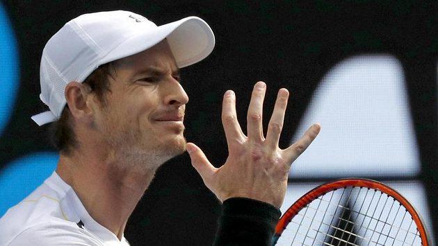 Brit Andy Murray při utkání s Američanem Samem Querreyem na Australian Open.