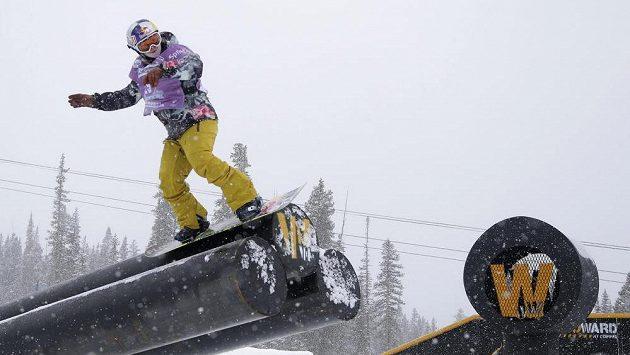 Šárka Pančochová na jedné z překážek při závodu SP v americkém středisku Copper Mountain.