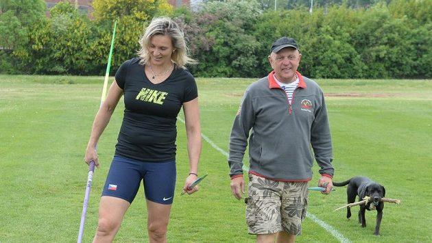 Barbora Špotáková společně se svým trenérem Rudolfem Černým.