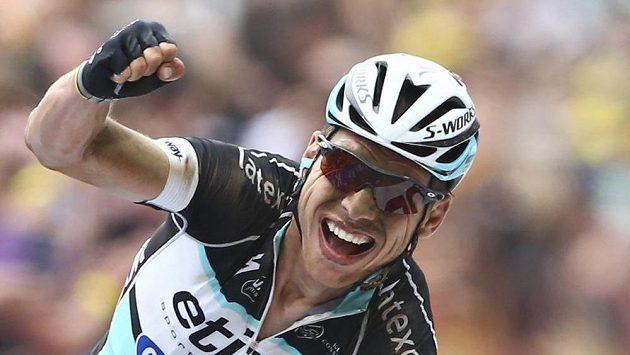 Němec Tony Martin se raduje z triumfu ve čtvrté etapě Tour de France.