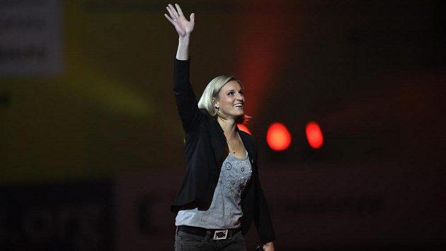 Oštěpařka Barbora Špotáková během slavnostního zahájení halového ME v atletice.