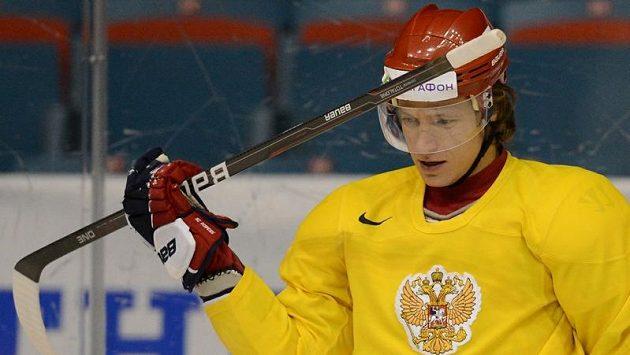 Ruský útočník Alexandr Sjomin na tréninku reprezentace při letošním MS