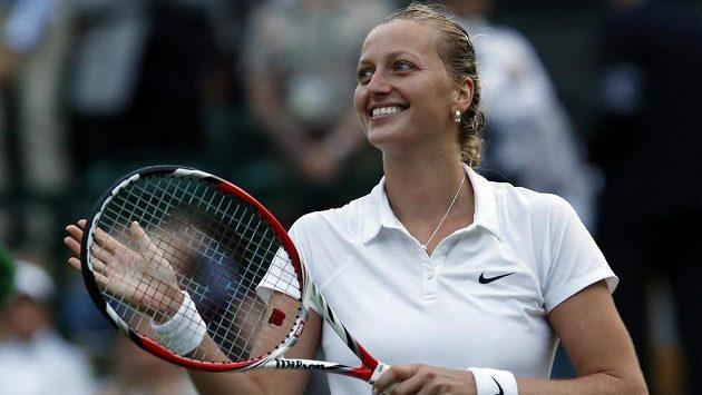 Radost Petry Kvitové po postupu do semifinále slavného Wimbledonu.