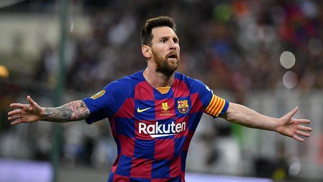 Argentinec Lionel Messi a jeho překvapené gesto poté, co sudí neuznal jeho gól.