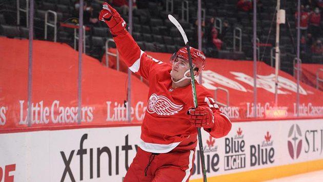 Český hokejový útočník Jakub Vrána slaví svou trefu v dresu Detroitu
