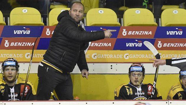 Hlavní trenér Litvínova Jiří Šlégr diriguje své hráče - ilustrační foto.