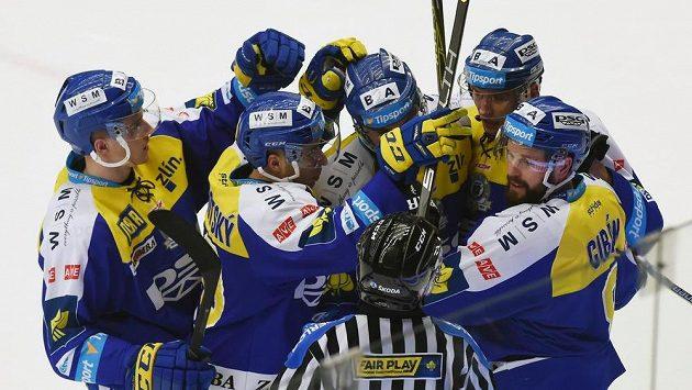 Hokejisté Zlína se radují z gólu - ilustrační foto
