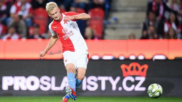 Obránce Jaroslav Zelený ze Slavie během ligového utkání proti Slovácku.