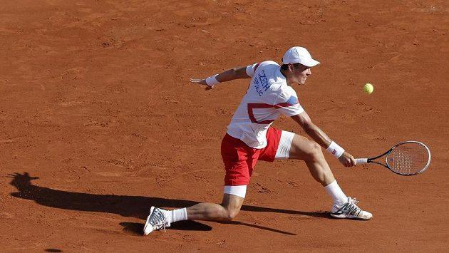 Tomáš Berdych při nedávném semifinále Davisova poháru v Paříži.