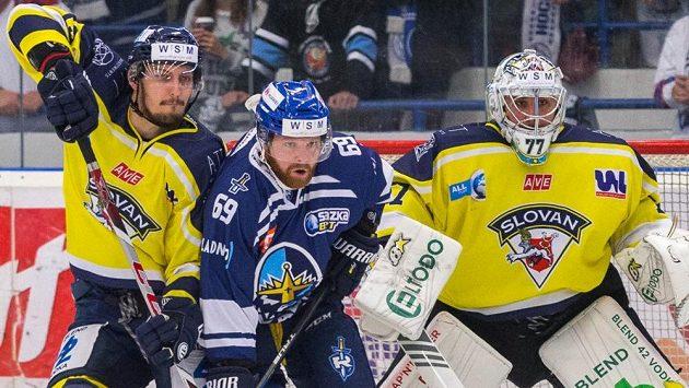 Duel 23. kola první hokejové WSM ligy mezi Kladnem a Ústím nad Labem.