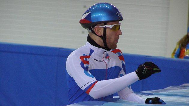 Český rychlobruslař na krátké dráze Vojtěch Loudín na olympiádě v Soči.
