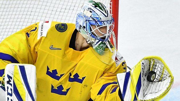 Švédský brankář Anders Nilsson během MS 2018, na němž získal zlato.