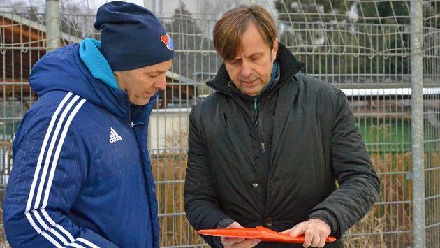 Majitel Václav Brabec (vpravo) a sportovní manažer Baníku Dušan Vrťo.