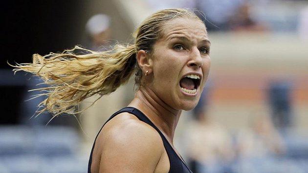 Radost slovenské tenistky Dominiky Cibulkové, která v úvodním kole US Open porazila Srbku Anu Ivanovičovou.