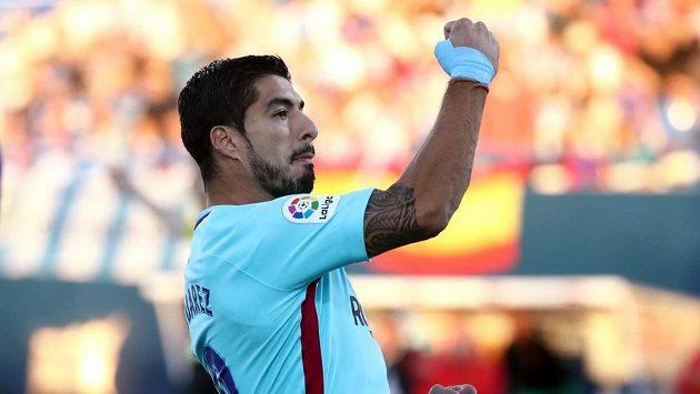 Luis Suarez a jeho oslava gólu. Hráč Barcelony se takto proti Leganés radoval dvakrát.