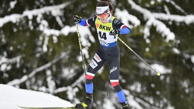 Česká lyžařská naděje Kateřina Razýmová během SP v Davosu, kde poprvé oblékla novou kombinézu.