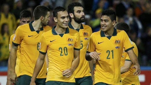 Fotbalisté Austrálie se radují z postupu do mistrovství Asie.