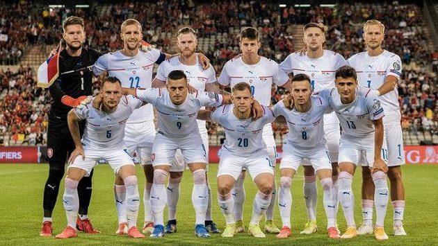 Čeští fotbaloví reprezentanti před kvalifikačním utkáním MS 2022 s Belgií v Bruselu.