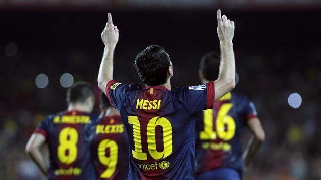 Lionel Messi z Barcelony se raduje ze vstřelené branky.