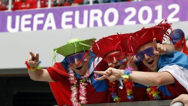 Fanoušci českého týmu během utkání s Řeckem