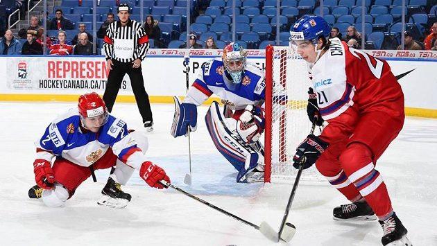 Český reprezentant Filip Chytil (21) během duelu s Ruskem na MS do 20 let.