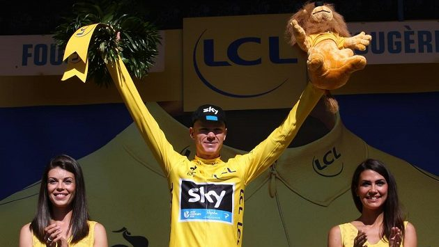 Chris Froome z týmu Sky ve žlutém dresu pro lídra Tour de France.