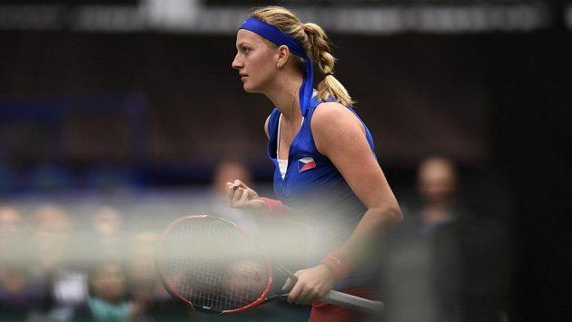 Petra Kvitová ve vítězném utkání s Francouzskou Garciaovou.
