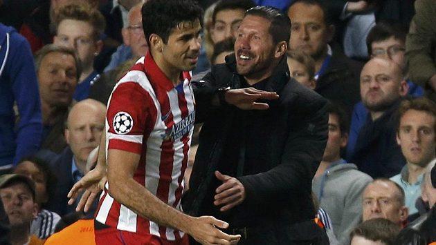 Radost dvou Diegů - trenér Atlétika Madrid Simeone a útočník Costa. Získá Atlético svůj desátý mistrovský titul?