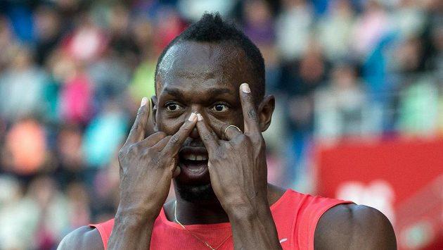 Jamajský sprinter Usain Bolt během atletického mítinku Zlatá tretra.
